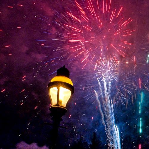Fireworks over lamp post